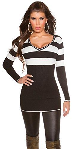 Koucla Damen Strickkleid & Pullover mit V-Ausschnitt und Streifen Einheitsgröße (34-38), schwarz