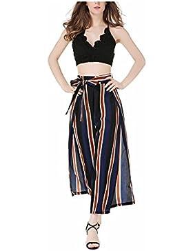 SYGoodBUY Pantalones de Mujer con Falda Ancha Pantalones de Talle Alto de Gran Tamaño Estampado de Rayas con Elegante...