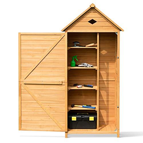 Goplus casetta da giardino per ripostiglio portaoggetti attrezzi in legno, armadio per esterni da giardino per attrezzi 70x35,5x176cm