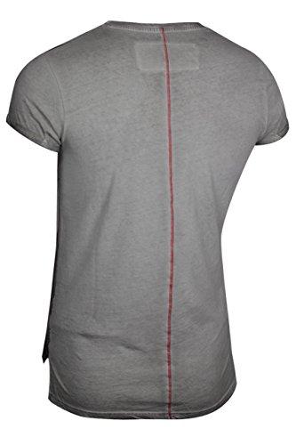 trueprodigy Casual Herren Marken T-Shirt mit Aufdruck, Oberteil cool und stylisch mit V-Ausschnitt (kurzarm & Slim Fit), Shirt für Männer bedruckt Farbe: Grau 1072143-5203 Dark Grey