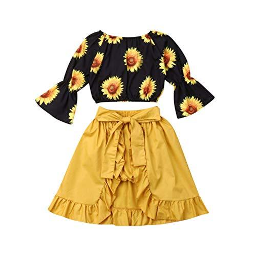 KINGWani ❤ Kleinkind Baby Sonnenblume Tops + Shorts + Rüschen Kleid 3pcs Freizeit Outfits Set