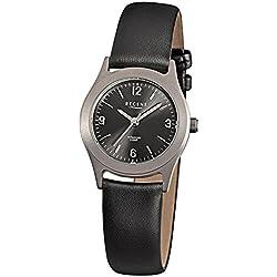 Regent montre bracelet femme élégant analogique bracelet en cuir noir à quartz cadran anthracite noir urf872