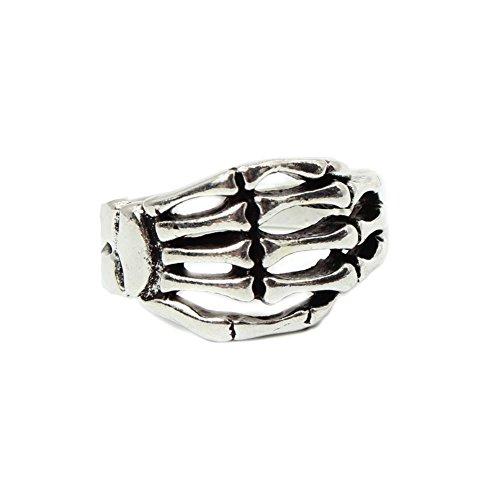 JUSTFOX - 3D Edelstahl Ring Skeletthand Skelett Knochen Gothic Gr. 60 = 19,1 mm Silber (Mondstein Ring Claddagh)