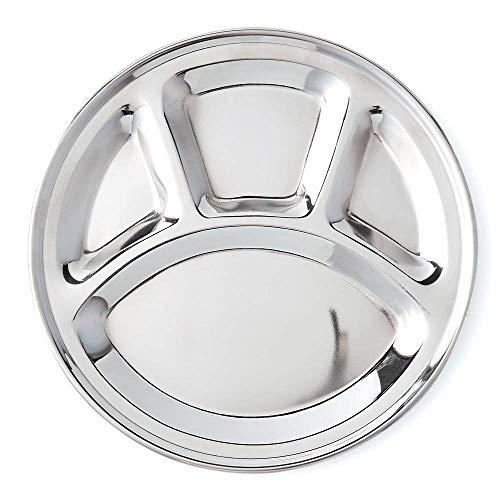 Assiettes Khandekar en acier inoxydable à 4 compartiments pour adultes, plateau à mess, assiettes à dîner, assiette à dîner ronde divisée, assiettes à nourriture (11 pouces)