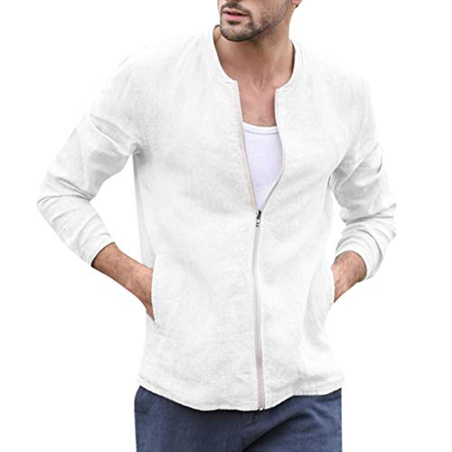 KPILP Herren Slim Fit Pullover Bomberjacke Einfarbig Herbst Winter Casual Zipper Jacke Streetwear Outdoor Übergangsjacke Sweatshirts...