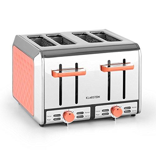 Klarstein curacao coral toaster tostapane con 4 piastre per 4 fette (tostiera da 1500 watt, funzione scongelamento e riscaldamento, 6 livelli di tostatura, raccogli-briciola estraibili, acciaio inox) color corallo