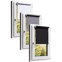 TEXMAXX Verdunkelungsrollo Fensterrollo Thermorollo Sonnenschutz mit Kettenzug und klemmfix in Grau, Leisten in Weiss - 40 x 160 cm - inkl. Zubehör - weitere Farben und Größen verfügbar