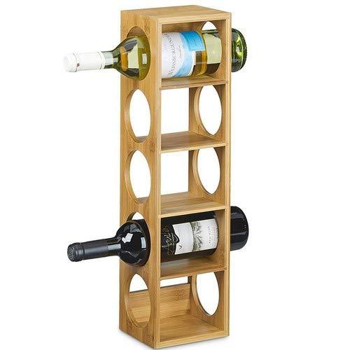 Bakaji portabottiglie vino liquori in legno di bambu, 5 posti, 52 x 14 x 12 cm, unica
