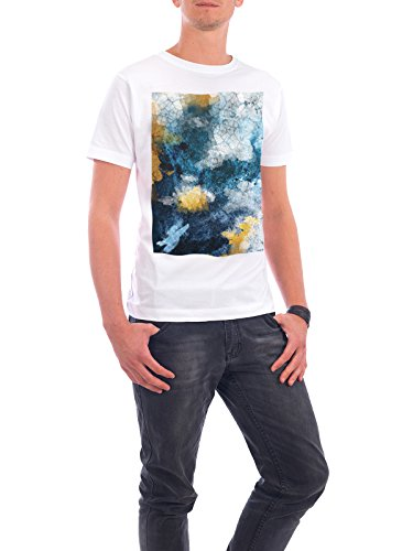 "Design T-Shirt Männer Continental Cotton ""Navy and Gold Abstract"" - stylisches Shirt Abstrakt von Linsay Macdonald Weiß"
