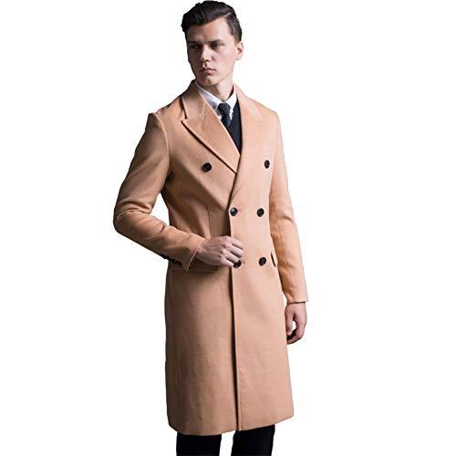 Merryhe cappotto in misto lana per uomo trench lunghi giacche invernali calde doppio petto capispalla antivento,camel-m(bust/104cm)