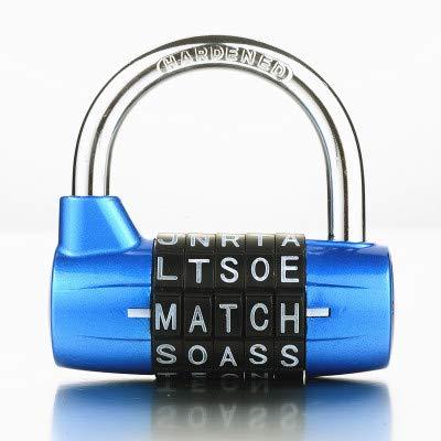 Preisvergleich Produktbild Vorhängeschloss Passwortsperre Tür Schrank Schublade Fahrrad Motorrad Student Locker Lock 5 Buchstaben Zink-Legierung Kombination Blau
