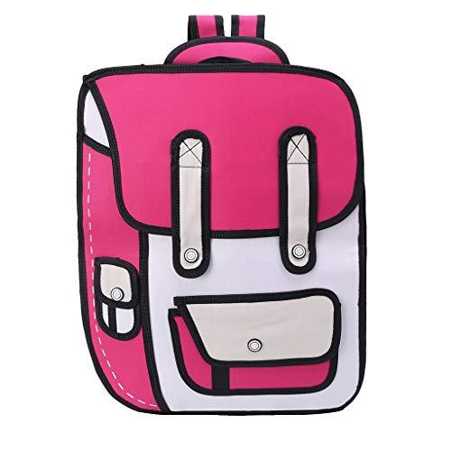 Vivianu 3D Jump Style Comic Büchertasche, 2D-Zeichnung aus Cartoon-Papier, Schultertasche rose pink 2d-rose