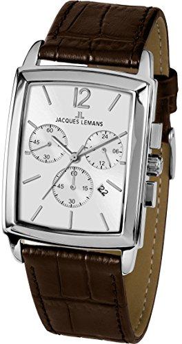 JACQUES LEMANS Herrenuhr Bienne Lederarmband massiv Edelstahl Chronograph 1-1906B