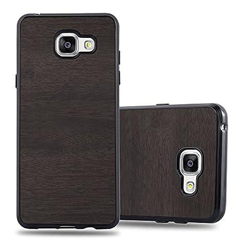 Cadorabo – Ultra Slim TPU Gel (silicone) Coque pour Samsung Galaxy A3 (6) - Modéle 2016 Design BOIS – Housse Case Cover Bumper en WOODEN-NOIR