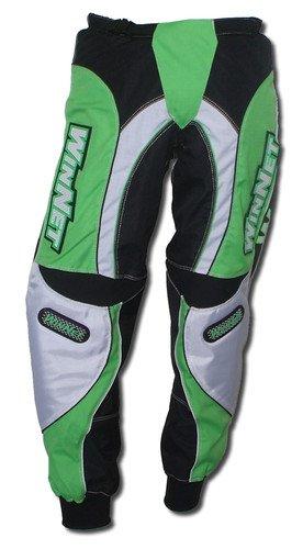 WinNet pantaloni da per moto cross motocross verde kawasaki con protezioni sui fianchi