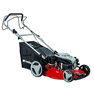 41gXge2Y3cL. SS300  - Einhell GC-PM 46/2 S HW-E Self Propelled Petrol Mower with 46 cm Cutting Width and High Wheels and Electric Start - Red