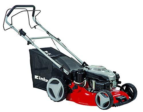 Einhell Benzin-Rasenmäher GC-PM 46/2 S HW-E (für bis zu 1.400 m², Highwheeler, 4-Takt-Motor mit E-Start, 6-stufige Schnitthöhenverstellung, Rasenkamm)
