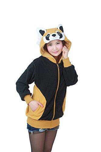 Cartoon Jacke Pyjama Tieroutfit Seitentaschen Reißverschluss Mit Kapuze Tier Sweatshirt Halloween Cosplay Kostüm Waschbär S (Waschbär-halloween-kostüm)