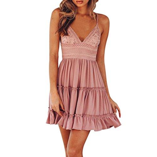 Hevoiok Damen Sommerkleid Minikleid Strandkleid Partykleid Rock Mädchen Lose Spitze Rückenfrei Kleider Frauen Mode Kleid Kurz Hemdkleid Kleidung (Rosa, M)