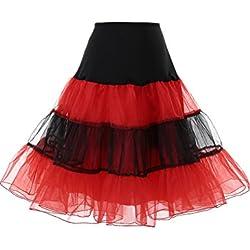 Dresstells Mujeres Cancan 50s Retro Rockabilly Enaguas Miriñaques Faldas Black-Red S
