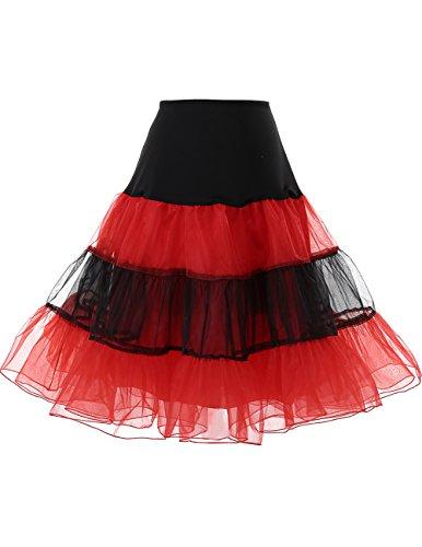 Dresstells 1950 Petticoat Reifrock Unterrock Petticoat Underskirt Crinoline für Rockabilly Kleid Black-Red M
