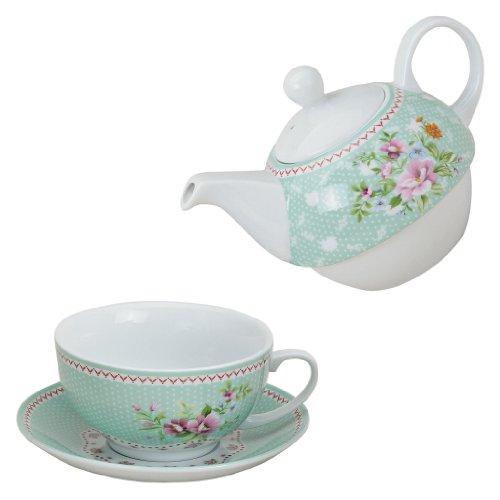 Tea for one Set Porzellan grün Teekanne mit Tasse Teeset Blumen