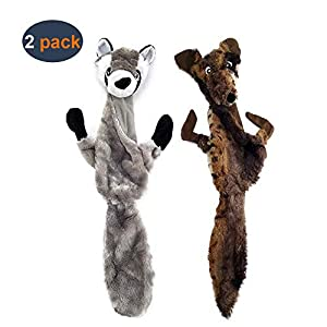 AIDIYA Lot de 2 Jouets pour Chien avec couineur en Peluche Durable pour Chiens de Taille Moyenne et Grande Taille Motif Loup Raton Laveur