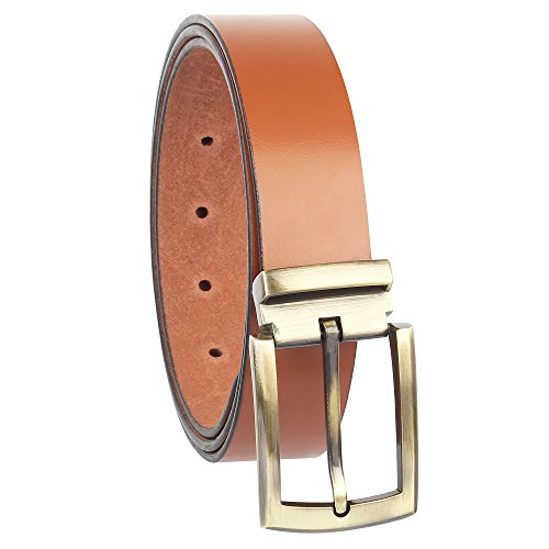 Alfami Mens Genuine Leather Belt, Brown/Tan Colour, Antique Golden Buckle, All Sizes, Timber Pattern, Size 28