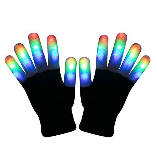 (Yeying123 LED Leuchten Blinkende Fingerhandschuhe 7 Modus Buntes Licht Weihnachten Liefert Geschenke Bühnenshow Club Bar Kostüm,3Pairs)