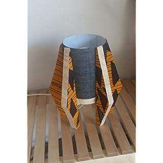 Stehlampe mit Lampenfuß aus Naturholz - Lampenschirm in BEIGE