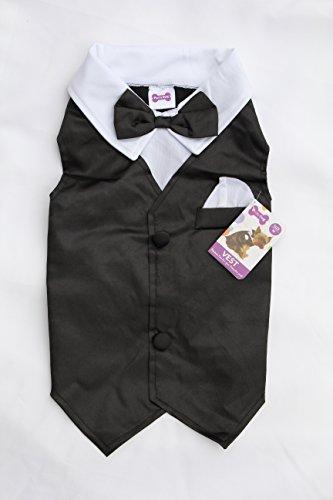 Hundekostüm Smoking Weste Hochzeit Party Kostüm für kleine und mittelgroße Hunde (Lhasa Apso Kostüme)
