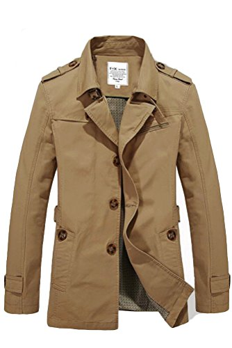 Vogstyle Herren Jungen Langarm Cabanjacke Reverskragen Trenchcoat Mantel Kurzmantel Einreihig Jack Anzug Art 2 Dark Khaki