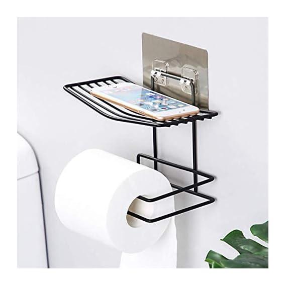 ZIZLY Bathroom Tissue Holder, Bathroom Wall Mounted Toilet Paper Holder with Mobile Phone Storage Shelf, Bathroom Towel Storage Rack Hanger Organizer, Bathroom Shelf for Tissue, Towel and Tissue Rack