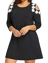 Damen Casual Kleid TräGerlos Minikleid Blumen Sommerkleid A Linie Kleider  Elegant Partykleid Strandkleider GroßE GrößEn cd94f6d242