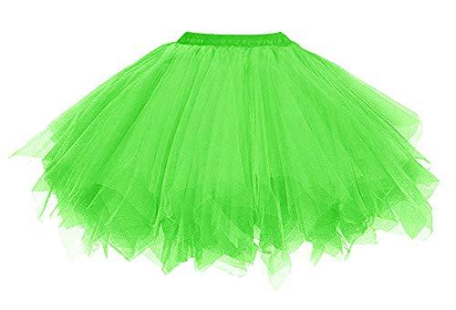 0er Jahre Kostüme Ballet Tüllrock Karneval Petticoat Neon Farben Neongrün ()