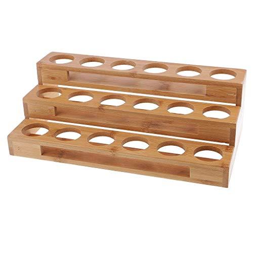 Tubayia 18-Loch Holz ätherisches Öl Flasche Regal Aromatherapie Display Rack Veranstalter für Kosmetische Aufbewahrung -
