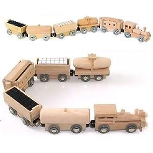 Brio in legno ELC compatibile Sized magnetica Push/Pull Toy Train & Cinque vagoni