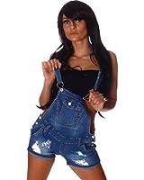 4461 Fashion4Young Damen Latzhose Hotpants Short kurze mit Hosenträgern Hot Pants latzjeans 5 Größen