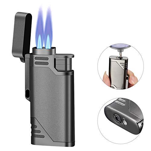 Auratrio Y27 Gas Feuerzeuge, Zigarret Jetflame Sturmfeuerzeug Nachfüllbar für Zigarren, Ofen und Grill (Ohne Gas enthaltet)