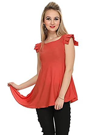 Grob Marche Western Asymmetric Crepe Peach Solid Pleated cap Sleeve Top for Women