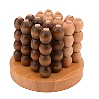 NUOBESTY Wooden Four in a Row 3D Game Wooden Strategy Game Puzzles Game