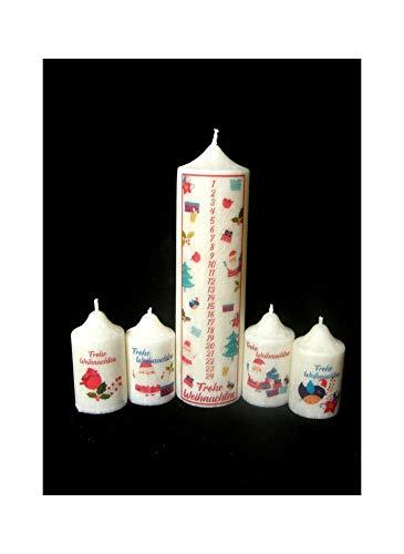 Candle making Stearin Kalenderkerzen Set Adventskerzen Adventskalender Santa-Kerzen Set mit Zahlen 1-24 Weihnachtskerze Stearinkerze 5 STK.