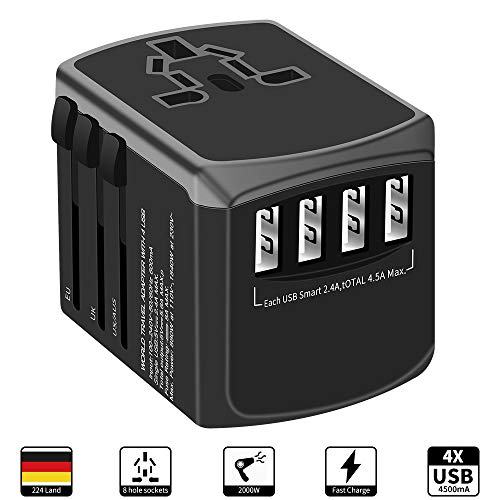 Reiseadapter Reisestecker Weltweit 224+ Ländern Universal Travel Adapter mit 4 USB + AC Steckdosen Internationale Reiseadapter für Europa Deutschland UK Australien USA Asien Thailand Usw (Italien-power Adapter Usb)