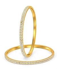 Sukkhi Glimmery Gold Plated Set OF 2 Australian Diamond Two Line Bangle For Women