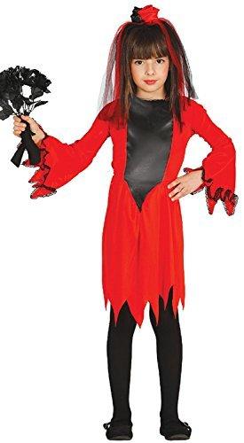 l Corpse Bride Demon Hölle Halloween Horror unheimlich Kostüm Kleid Outfit 3-9 Jahre - Rot, 3-4 years (Kinder Corpse Bride Kostüm)