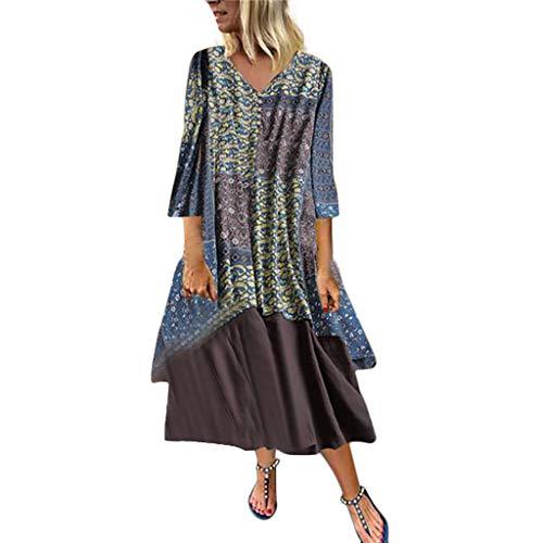 Malloom-Bekleidung Frauen Weinlese Blumendruck Oansatz Patchwork Kleid Langes Hülsen Langes Kleid Mosaikrock Aus Baumwolle Und Leinen Leg Fisherman Pants