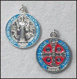 Medaille Benedikt St. (Herren Damen 11/10,2cm blau Emaille Silber Ton Saint ST Benedikt Medaille Religiöse katholischen Schutz)