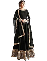 Globalia Creation Womens & Girls Cotton Black Party Wear Long Gown (GOL-08899_Black_Long Gown_Semi-Stitched)