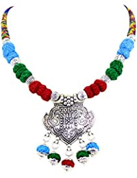 New Design Antique Oxidized Silver Multi Color Thread Choker Necklace For Girls And Women