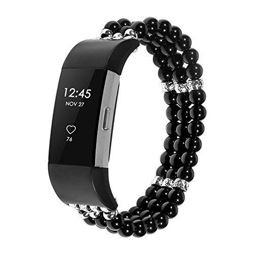 KATUMO Armband Für Fitbit Charge 2, Damen Fitbit Charge 2 Armband - Perlen Wristband Armbänder für Fitbit Charge2, Schwarz